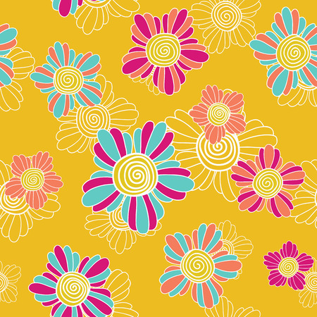 contrast floral: Bright and contrast floral illustration with fantastic swirl flowers. Simple floral background for decoration or backdrop.