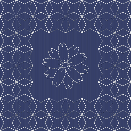 embroidery flower: Traditional Japanese Embroidery Ornament with sakura flower. Sashiko. Sashiko motif - Seven Treasures of Buddha (Shippo). Abstract vector backdrop. Needlework texture. Can be used as seamless pattern.