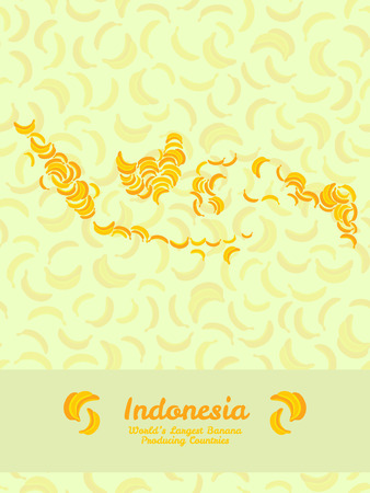 largest: Map of Indonesia made out of yellow bananas. Veggie illustration. Seamless pattern. Indonesia map poster or card. Series: Worlds Largest Banana Producing Countries. Can be used as seamless pattern.