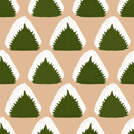 basil leaf: Onigiri wrapped in Perilla leaf. Seamless pattern. Japanese rice ball in Shiso leaf. Japanese Basil. Lunch texture.