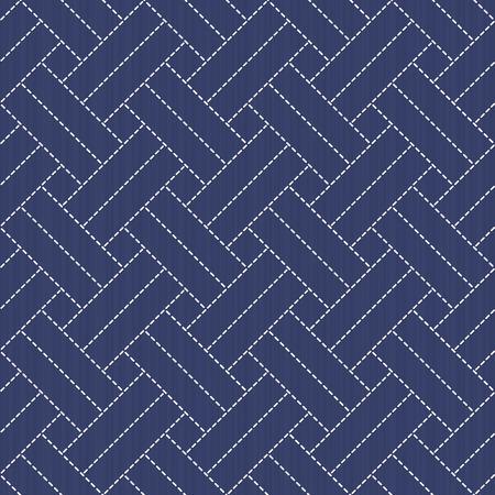 伝統的な日本刺繍の飾り。モチーフ - 刺し子織り。抽象的な背景。針仕事のテクスチャです。シームレス パターン。装飾または布で印刷。パターン