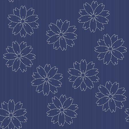 桜の花が咲くと伝統的な日本刺繍飾り。ベクターのシームレスなパターン。刺し子のモチーフ - 桜の花が咲きます。花の背景。針仕事のテクスチャ