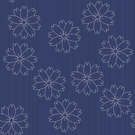 blooming: Traditional Japanese Embroidery Ornament with blooming sakura flowers. Vector seamless pattern. Sashiko motif - blooming cherry flowers. Floral backdrop. Needlework texture.