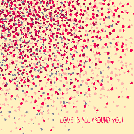 space for text: Love is all around you! Greeting Card. Copy space for text. Simple design for flyer, postcard or poster. Valentines Day Card. Illustration