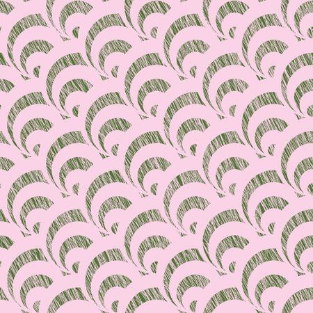 傷ファンの背景。伝統的な日本刺繍に基づいています。抽象的なシームレス パターン。刺し子に基づいています。ピンクと緑の背景。 様式化された