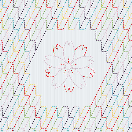 桜の花と伝統的な日本刺繍飾り。カラフルな刺し子のモチーフ - 矢羽。抽象的なベクトルの背景。針仕事のテクスチャです。シームレスなパターン