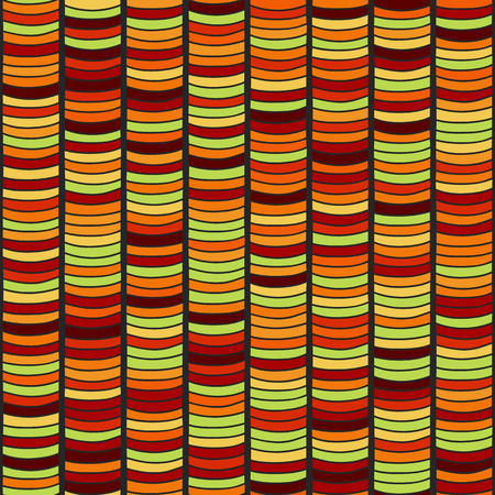 Stylized Seamless texture with multicolored waves. Bright orange Pattern for decoration or background. Based on Traditional African Ornamental Pattern.