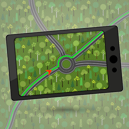 roundabout: Smartphone with GPS navigation. Device with Global Positioning System (GPS) module. Navigation in countryside green forest. Navigation within a roundabout in a country where traffic drives on the left. Vector illustration. Illustration