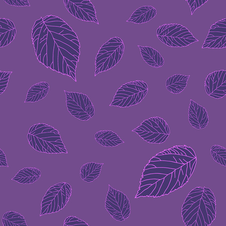 Violet raspberry leaves on the violet field. Dark seamless pattern. Plain endless background with blackberry or raspberry leaves for decoration.