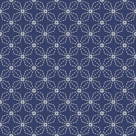 古い伝統的な手仕事。暗い藍色背景に様式化されたシームレスなテクスチャです。Web ページの背景。