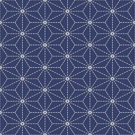 Scattered hemp leaf motif (tobi asa-no-ha). Old traditional handiwork. Stylized seamless texture on the dark blue background. Web page backdrop. 일러스트