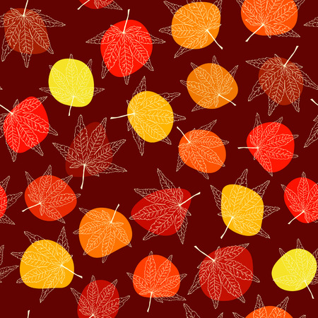 Seamless pattern with maple leaves. Colorful spots. Autumn texture. Backdrop with momiji leaves. Colorful spots. Contrast backdrop. For wallpaper, pattern fills, web page background, surface textures. Illustration