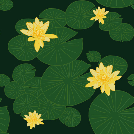 water lilies: Yellow Lotuses in the pond. Dark green Seamless pattern. Plain dark background with Lake Water Lilies. Shadeless ornament. Bright seamless pattern with water lilies (or lotuses)