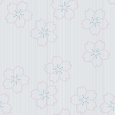 fancywork: Antique japanese fancywork. Sashiko with sakura flowers. Floral background. Needlework texture. Spring backdrop. Pattern fills. For decoration or printing on fabric. Seamless pattern.