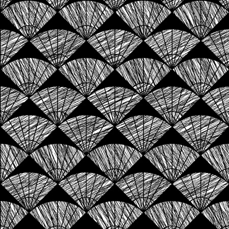 stitching: Scratched fan background. Based on Traditional Japanese Embroidery. Abstract Seamless pattern. Based on Sashiko stitching - uchiwa. Monochrome backdrop.