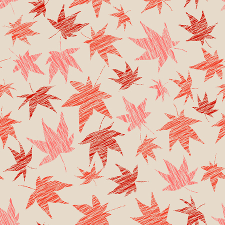 momiji: Seamless pattern with scratched maple leaves. Warm colors. Autumn template. Plain endless background with momiji leaves. For wallpaper or printing on fabric.