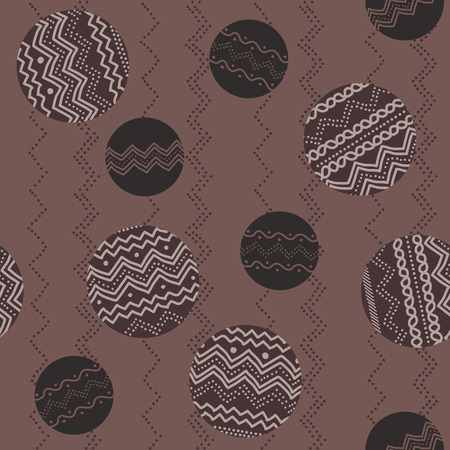 Pale texture with circles and hand-drawn ornaments. Coffee-colored simple background for decoration.