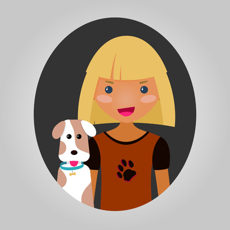 spotted dog: Happy boy or girl with their puppy. Dog lover character. Joyful kid with a pet dog. Vector illustration of unisex person for web site or application. Smiling person and a spotted dog.