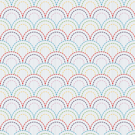カラフルな魚の鱗を持つ伝統的な日本刺繍飾り。ベクターのシームレスなパターン。  イラスト・ベクター素材