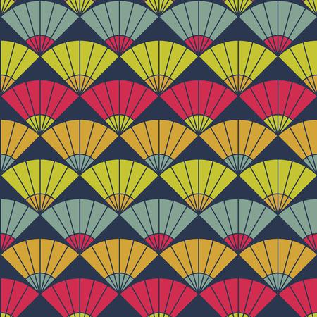 stitching: Bright fan background. Based on Traditional Japanese Embroidery. Abstract Seamless pattern. Based on Sashiko stitching - uchiwa. Illustration