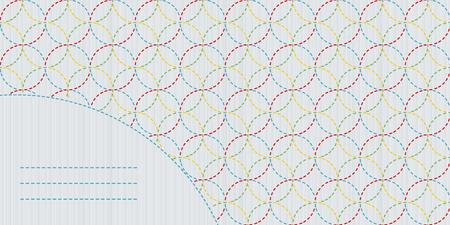 日本手芸デザイン。テキスト フレーム。古い日本のモチーフ。カラフルなテンプレートです。コピーのテキストのための領域を持つ幾何学的な刺し