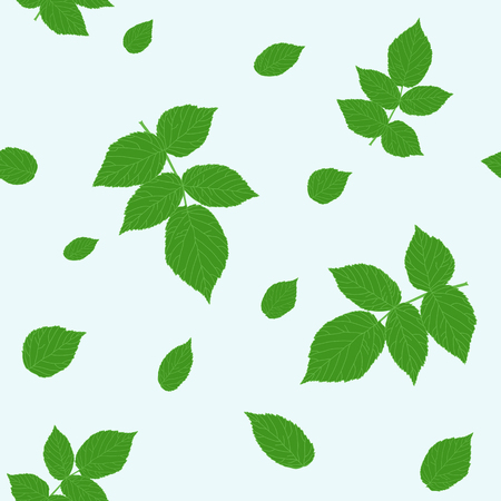 Green raspberry leaves. Traditional colors. Seamless pattern. Plain shadeless background with blackberry or raspberry leaves for decoration.