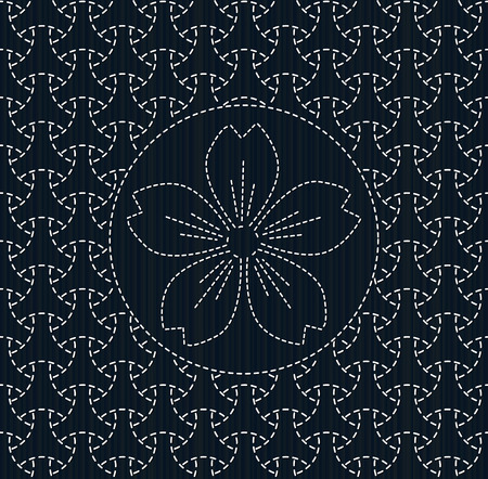 fancywork: Antique japanese fancywork. Sashiko with sakura flower. Geometric background. Needlework texture. Abstract backdrop. Pattern fills. For decoration or printing on fabric. Seamless pattern.