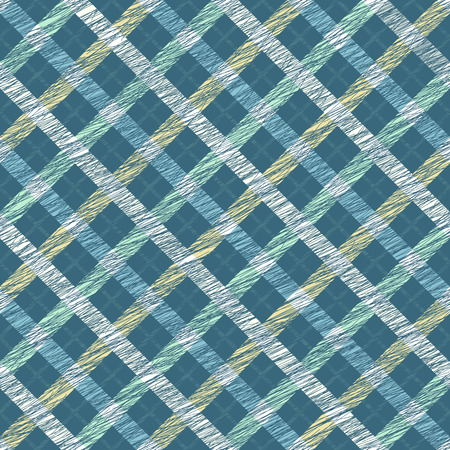 scrape: Simple checkered template. Plain tartan background for decoration or backdrop. Brush strokes. Pattern fills. Abstract backdrop. Endless vector. Fabric with scratch lines. Illustration