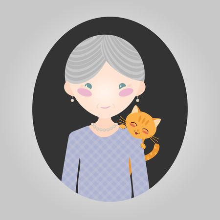 tabby cat: Happy old lady with her kitten. Cat lover character. Grey-haired grandmother with a pet cat. Vector illustration of old woman person for web site or application. Smiling person and a tabby cat.