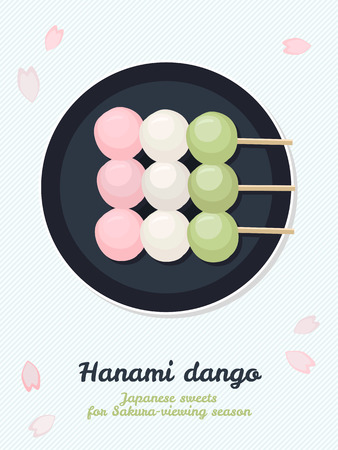Hanami Dango. Japanese sweets for sakura season. Spring snack. Asian cuisine. Sweet dumplings made from rice flour. Spring colors. 矢量图像