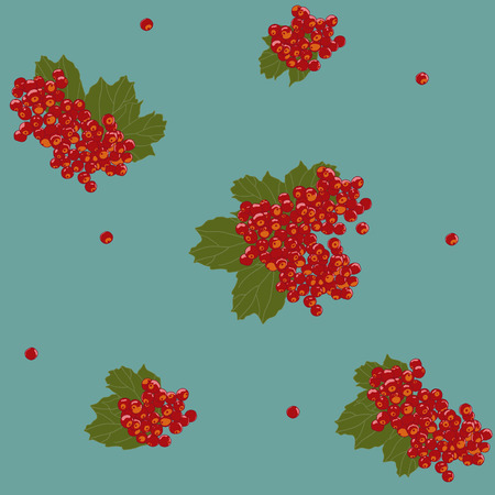 guelder rose: Seamless pattern with orange viburnum bunches. Traditional background with viburnum berries and leaves.