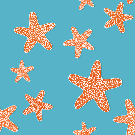 seafish: Bright seamless pattern with orange starfishes on a blue background. Endless ornate. Stylized Seamless texture with starfishes. Plain Pattern for decoration or background. Illustration