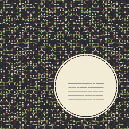space for text: Copy space for text. Scattering of tiny rhombuses. Seamless pattern. Abstract rhomb texture. Noise texture. For decoration, pattern fills or printing on fabric. Grey background. Bright colors.