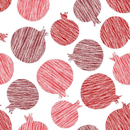 Granaatappel vector patroon. Zomer oogst achtergrond. Naadloos beeld met gekraste granaatappels. Eindeloze fruittextuur. Herhalende oogstachtergrond. Dessert achtergrond. Witte achtergrond sjabloon.