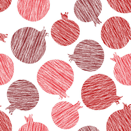 Pomegranate vector pattern. Summer harvest background. Seamless image with scratched pomegranates. Endless fruit texture. Repeating harvest backdrop. Dessert backdrop. White background template.