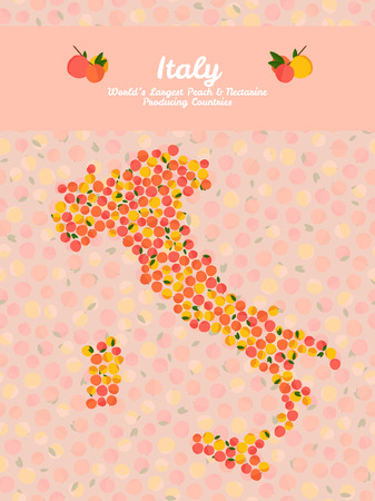 nectarine: Italy map poster or card. Veggie postcard. Map of Italy made out of pink peaches. Fruitarian illustration. Worlds Largest Peach and Nectarine Producing Countries. Can be used as seamless pattern. Illustration