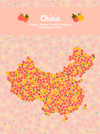 China map poster or card. Vegetarian postcard. Map of China made out of pink nectarines. Illustration. Series: Worlds Largest peach and nectarine Producing Countries. Can be used as seamless pattern. Illustration