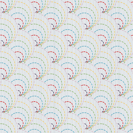 Old traditional handiwork. Stylized Seamless texture with colorful circles. Simple background. Web page backdrop.