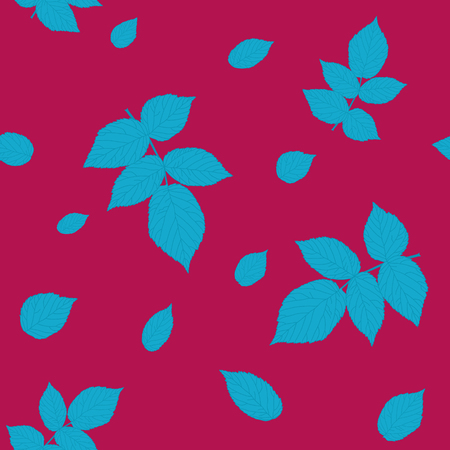 bramble: Seamless pattern with raspberry leaves. Vivid red and blue colored illustration. Plain shadeless background with blackberry or raspberry leaves for decoration.