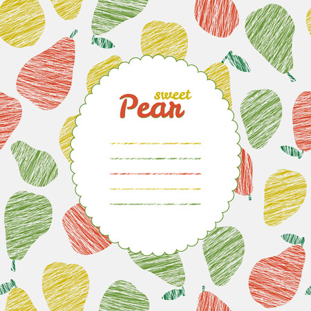 pers: Text frame. Repeating backdrop with scratched pears. Summer harvest background. Endless pear texture. Dessert texture. Harvest template. Can be used as seamless pattern. Fruit card.