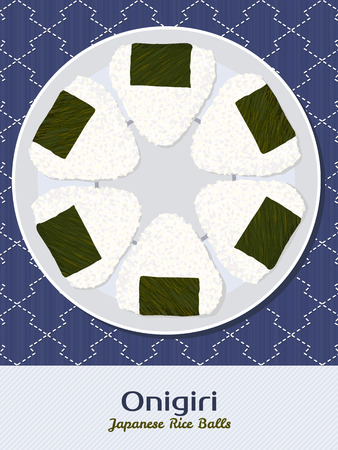 japanese cuisine: Onigiri illustration. Rice balls. Japanese cuisine. Asian snack. Lunch texture. Triangle rice balls wrapped with nori seaweed. Asian snack plate on the japanese bamboo mat.