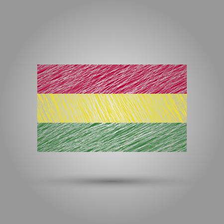 bandera de bolivia: Bolivia flag with transparent background. Scratched texture.