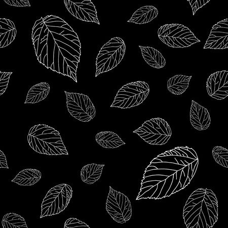 herbaceous: Simple black and white seamless pattern with raspberry leaves. Monochromatic. Plain shadeless background with blackberry or raspberry leaves for decoration.