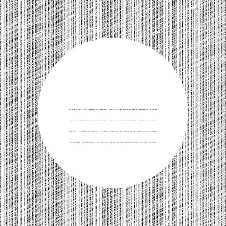 space for text: Postcard with abstract graphic elements. Scratched line circle. Decorative frame. Copy space for text. For postcard, poster or banner. Black and white vertical lines. Can be used as seamless pattern. Illustration