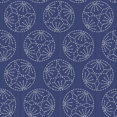 日本の刺し子をモチーフ。3 つの梅の花。伝統的な日本刺繍の飾り。シームレス パターン。カラフルな Sasiko モチーフ - みつ梅。抽象的な背景。針仕  イラスト・ベクター素材