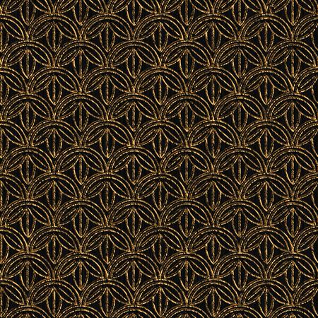 日本の刺し子をモチーフに基づくシームレスなパターン。黄金色。花と刺し子。抽象的な幾何学的な背景。刺し子をモチーフ。装飾または布で印刷