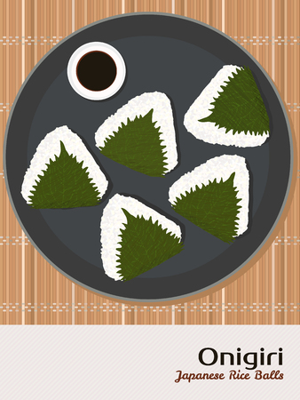rice plate: Onigiri illustration. Rice balls wrapped in Perilla leaves. Japanese cuisine. Lunch. Triangle rice balls in Shiso leaves. Asian snack plate on the japanese bamboo mat. Soy sauce. Illustration