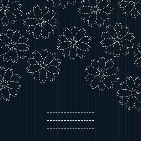 日本の手芸。刺し子カード。さくらの花。桜の花。花のはがき。コピーのテキストのための領域とアンティーク手芸品。桜の花のバナーします。暗