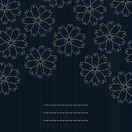 fancywork: Japanese fancywork. Sashiko card. Sakura flowers. Cherry Blossoms. Floral postcard. Antique fancywork with copy space for text. Banner with sakura blossoms. Dark blue background. Illustration