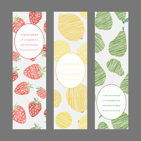 Healthy lifestyle banners series. Set of Vertical flyers. Scratched strawberry lemon and pear flyer series. Series of harvest fruit cards. Simple design for invitation postcard or poster.